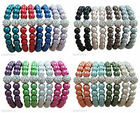 Glass Pearl & Shamballa Crystal Bead Elastic Stretch Ladies Bracelet UK Seller
