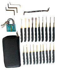24 Piece Practice Lock Pick Кit with Transparent Padlock