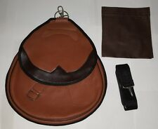 Falconry Nubuck Leather Bag, Hawking Bag with Strap & Meat Pocket (Tawny Brown)