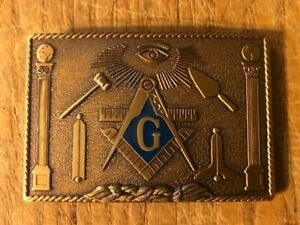 1978 Harry Kutzner Bronze Masonic Freemason Belt Buckle 3""