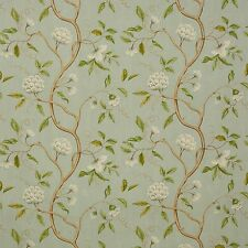 COLEFAX & FOWLER CHINOISERIE JAPANESE FLORAL SNOW TREE FABRIC 10 YARDS AQUA
