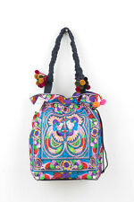 Pom Pom Multi Bird Tribal Tote Bag with Draw String Thai Hmong Embroidered