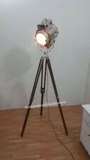 ELECTRIC FLOOR  SEARCHLIGHT WITH  WOOD TRIPOD/ NAUTICAL SPOTLIGHT LAMP