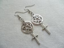 Pentagram and Cross,wiccan Jewelry,cross Earrings,pentagram Jewellery,pagan