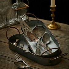 Photography Props Wrought Iron Storage Tray Bread Plate With Handles Organizer