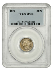 1871 3cN PCGS MS66 - Lovely Golden Tinted Gem - 3-Cent Nickel