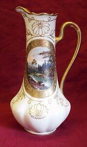 EARLY Antique TURN VIENNA AUSTRIA HP River Bank Scene EWER PITCHER Gold Trim
