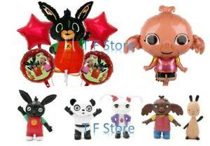 5pcs Bing Bunny Cartoon Rabbit Foil Balloon & Cake Topper Animal Birthday Party