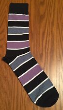 SOHO LONDON Mens Crew Dress Socks Hot Fun Sox Multi-Color Stripe Purple L (8-12)