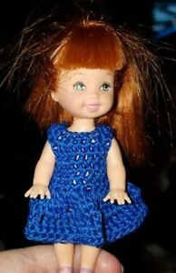 Hand crocheted Mattel Kelly Doll Clothes - blue