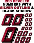 3-D RACING NUMBERS (0's) RED BEVELED Decal Sticker Sheet 1/8-1/10-1/12 RC arrma