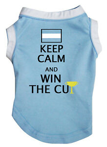 Keep Calm And Win The Cup Blue Top T-Shirt Pet Cat Dog Puppy One Piece Clothes