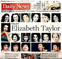 Elizabeth Taylor Newspaper Los Angeles Daily News Tribute 2011 MT Liz Cleopatra
