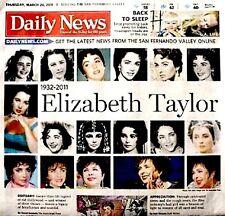 Elizabeth Taylor Newspaper Los Angeles Daily News Tribute 2011 MT Liz Cleopatra