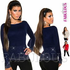 New Sexy Womens Jumper Knitted Top Pullover Size 8 10 12 / US Size 4 6 8 / S M L