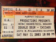 Nina Hagen Concert Ticket Stub-May 21, 2003, Chicago, Rare Item From Rare Event