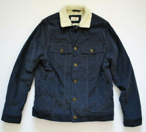 MARINE LAYER CHARCOAL GREY CORDUROY SHERPA LINED JACKET SZ.SMALL! TRUCKER,SURFER