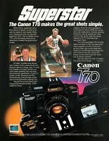 1985 NBA Superstar Larry Bird photo Canon T70 SLR Camera vintage promo print ad