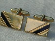 VINTAGE 80'S POLISHED GOLD PLATED AND BLACK ONYX GLASS INLAID CUFFLINKS
