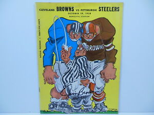 JIM BROWN SIGNED CLEVELAND BROWNS PITTSBURGH STEELERS PROGRAM 10/19/1958 PSA/DNA