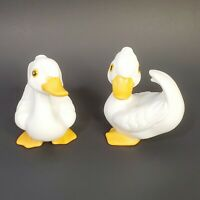 Set of 2 Vintage HOMCO White Ceramic Duck Ugly Duckling Swan Figurines 3 inch