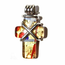 Murano Glass Gold Metallic Red Multicolor Sterling Silver Criss Cross Pendant