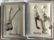 Musical Note Dangle Earrings and Necklace Instrument Music 925 Sterling Silver