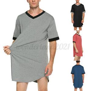 UK Mens Short Sleeve T Shirts Pajamas Nightshirt Sleepwear Night Gown Dress Tops