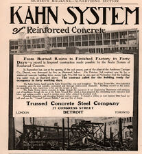 AD LOT OF 2 1906 - 14 AD KAHN SYSTEM CONCRETE STEEL ANDERSON CARRIAGE FIRE PHOTO