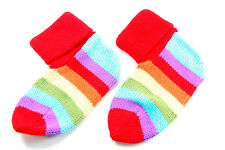 FUNKY THICK KNITTED MULTICOLOUR STRIPED COSY SOCKS CASUAL LOUNGE STYLE (MS8)