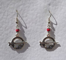 SWEET TARA CELTIC DROP EARRINGS WITH TINY RED WOOD BEAD DARK SILVER PLATED Hook