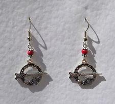 SWEET TARA CELTIC DROP EARRINGS WITH TINY RED WOOD BEAD DARK SILVER PLATED Hook