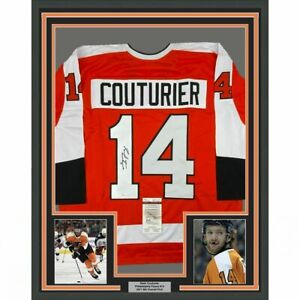 FRAMED Autographed/Signed SEAN COUTURIER 33x42 Philly Orange Jersey JSA COA Auto