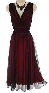 Size 12 SEXY Women BLACK MESH MIDI DRESS W/RED LINING Summer Wedding Day/Evening
