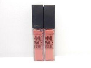 Lot of 2 Maybelline Vivid Matte Liquid Lip Gloss #10 Nude Flush Pink