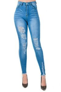 Ladies SUPER Skinny HIGH WAIST Stone Wash Frayed Ankle Stretch Distressed Jeans.