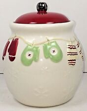 Hallmark Christmas Mittens Snowflakes Jingle Bell Red White 7 inch Cookie Jar