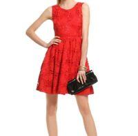 Kate Spade Dress 8 Red Tiebreaker Crochet Lace A Line Floral Cotton Women's $578