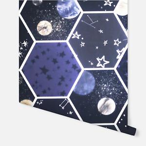 Arthouse Space Hexagon Glow In The Dark Kids Boys Girls Galaxy Wallpaper 669501