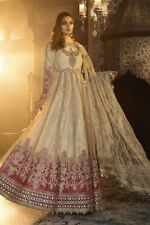 PAKISTANI PARTY WEAR ANARKALI MARIA B  MBROIDERED - Ivory and Ashrose BD-1801