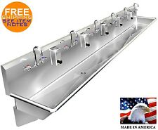 """Multi Station 6 Users Hand Sink 144"""" Manual Faucet (2) 2"""" Npt Drains Made In Usa"""