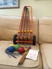 Vintage croquet set  1960/70s with metal trolley made in France