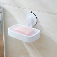 AM_ SN_ UK_ Bathroom Plastic Suction Cup Wall Mounted Soap Dish Tray Holder Rack