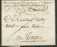 1816 Lettre en franchise des postes de FIGUERES pour VINCA RRR PO(65) P2865