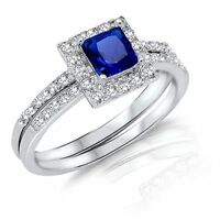 Princess Cut Blue Sapphire Engagement Wedding Sterling Silver Two Ring Set