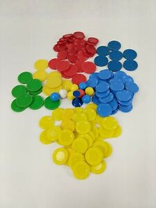 Lot of Various Game Board Plastic Pieces Marbles Chips Tokens LOT of 143