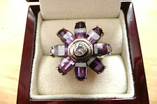LARGE PURPLE CRYSTAL & CUBIC ZIRCONIA QUALITY 925 SILVER FLOWER RING SZ R US 9