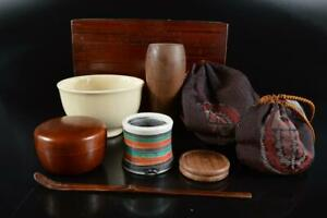 L737: Japanese Wooden Lacquer ware TEA CEREMONY BOX Chabako Teabowl Spoon