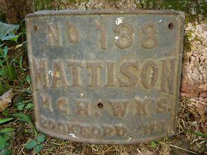Mattison No 138 Brockford Illinois Plate 9 X 6.75 Curved Cast Iron Plate x2