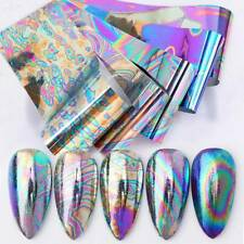 10*Nail Foil Stickers Holographics Mirror Laser Effect Nail Art Decals Decor Us